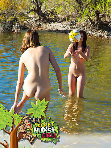 Voyarism Series : Watch from the corner as you spy these two beautiful teen girls play together naked at the beach....
